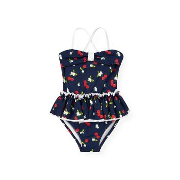 Classic Navy Cherry Skirted One-Piece Swimsuit at JanieandJack