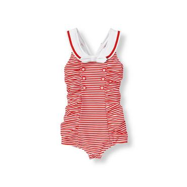 Cherry Red Stripe Sailor Stripe One-Piece Swimsuit at JanieandJack