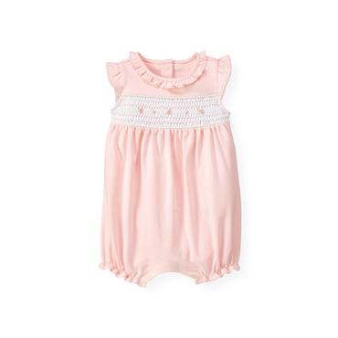 Baby Girl Barely Pink Hand-Smocked Blossom Bubble at JanieandJack