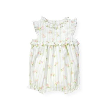 Baby Girl Pale Green Floral Wallpaper Stripe Floral Bubble at JanieandJack