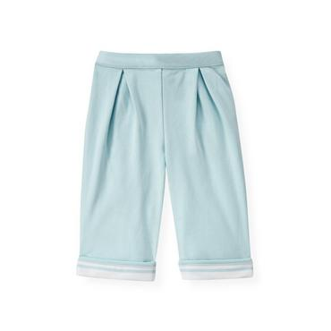 Baby Boy Feather Blue Pleated Knit Pant at JanieandJack