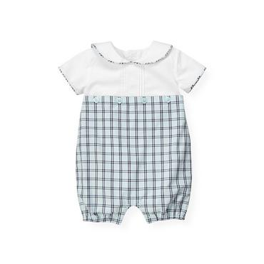 Baby Boy Feather Blue Check Sailor Checked Bubble at JanieandJack