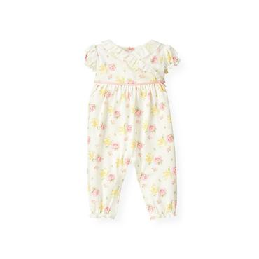 Baby Girl Delicate Pink Floral Rose Floral Ruffle One-Piece at JanieandJack