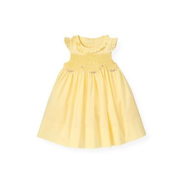 Baby Girl Delicate Yellow Hand-Embroidered Rose Smocked Dress at JanieandJack
