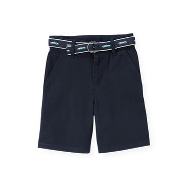 Boys Classic Navy Belted Twill Short at JanieandJack