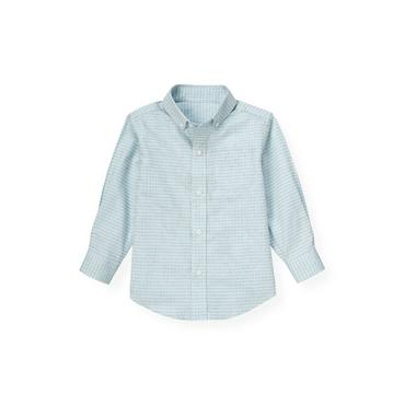 Pale Blue Check Dobby Check Dress Shirt at JanieandJack
