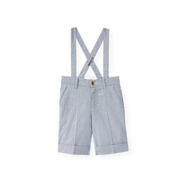 Boys Steel Blue Stripe Stripe Suspender Short at JanieandJack