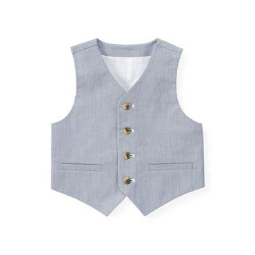 Steel Blue Stripe Stripe Suit Vest at JanieandJack