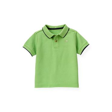 Boys Turtle Green Tipped Polo Shirt at JanieandJack