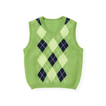 Turtle Green Argyle Sweater Vest at JanieandJack