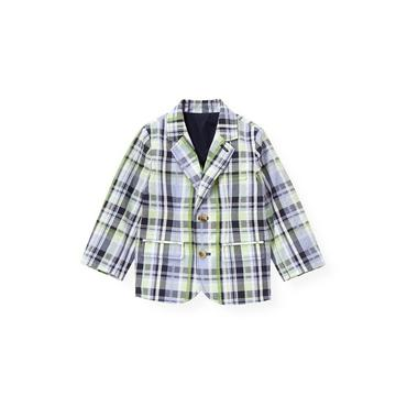 Classic Navy Plaid Plaid Seersucker Blazer at JanieandJack