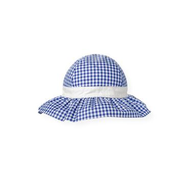 Bright Blue Check Gingham Sunhat at JanieandJack
