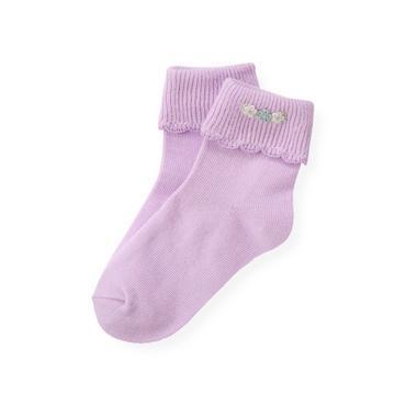 Purple Petunia Hand-Embroidered Petunia Sock at JanieandJack