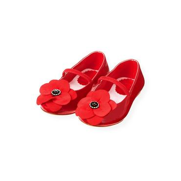 Poppy Red Poppy Flower Patent Leather Shoe at JanieandJack