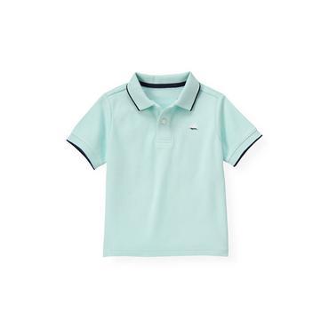 Boys Washed Aqua Tipped Polo Shirt at JanieandJack