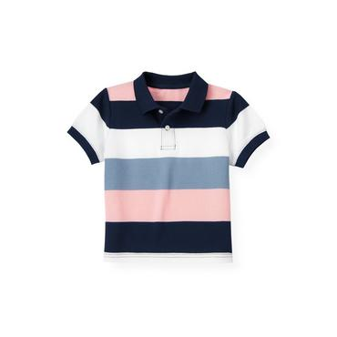 Boys Pink Coral Stripe Stripe Polo Shirt at JanieandJack