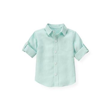 Washed Aqua Linen Roll Cuff Shirt at JanieandJack