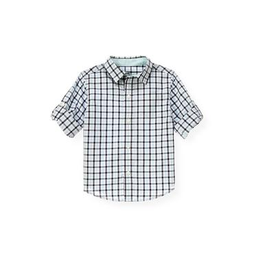 Washed Aqua Check Gingham Roll Cuff Shirt at JanieandJack