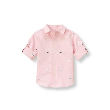 Pink Coral Check Sailboat Gingham Roll Cuff Shirt at JanieandJack