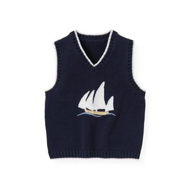 Classic Navy Sailboat Sweater Vest at JanieandJack