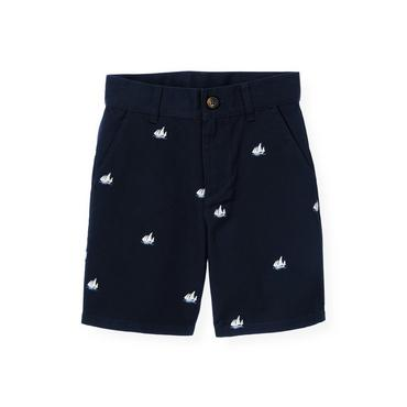 Boys Classic Navy Sailboat Embroidered Short at JanieandJack