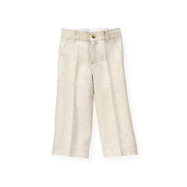 Boys Classic Khaki Stripe Stripe Linen Trouser at JanieandJack