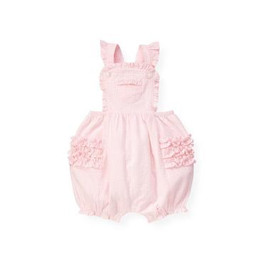 Baby Girl Barely Pink Stripe Ruffle Seersucker Stripe Shortall at JanieandJack