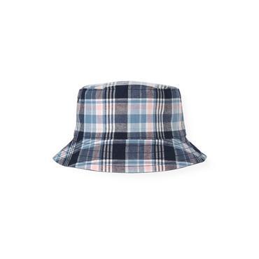 Boys Blue Sail Plaid Reversible Plaid Bucket Hat at JanieandJack