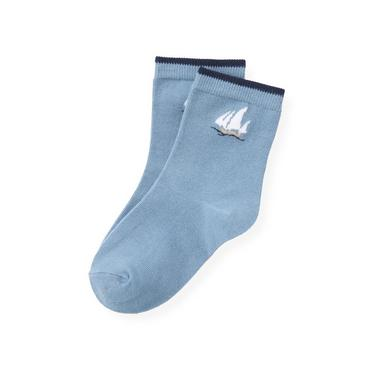 Boys Blue Sail Sailboat Sock at JanieandJack
