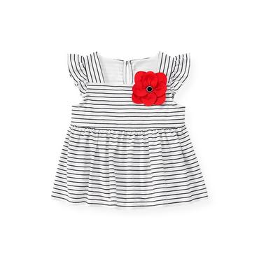 Pure White Stripe Poppy Flower Stripe Top at JanieandJack
