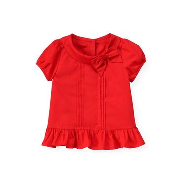 Poppy Red Pintucked Bow Top at JanieandJack