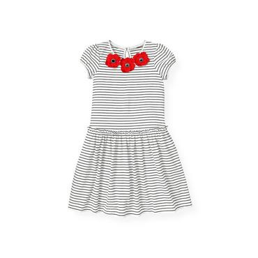 Pure White Stripe Poppy Flower Stripe Knit Dress at JanieandJack