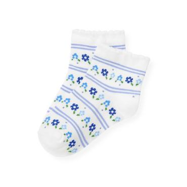 Bright Blue Stripe Floral Stripe Sock at JanieandJack