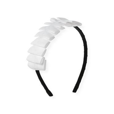 Pure White Pleated Grosgrain Ribbon Headband at JanieandJack