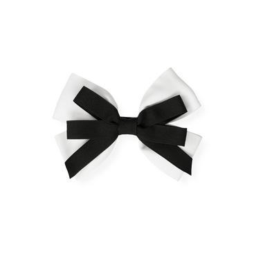 Pure White Grosgrain Ribbon Double Bow Barrette at JanieandJack
