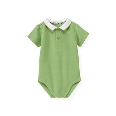 Baby Boy Grass Green Tipped Polo Bodysuit at JanieandJack