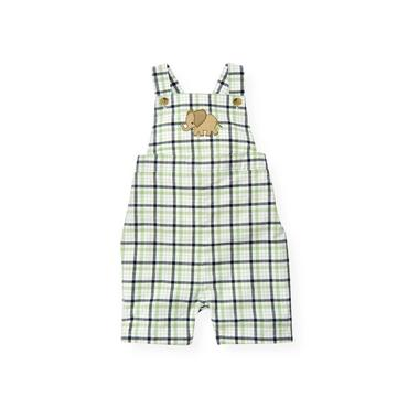 Baby Boy Grass Green Check Baby Elephant Plaid Shortall at JanieandJack