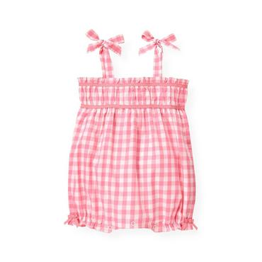 Baby Girl Paradise Pink Check Ruched Gingham Bubble at JanieandJack