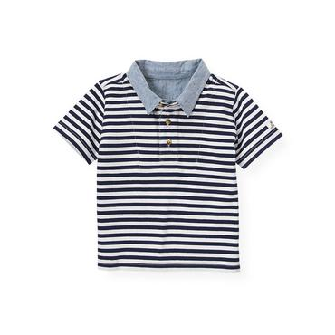 Boys Beachfront Navy Stripe Double Collar Stripe Polo Shirt at JanieandJack