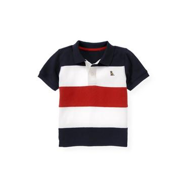 Boys Beachfront Stripe Pieced Stripe Polo Shirt at JanieandJack