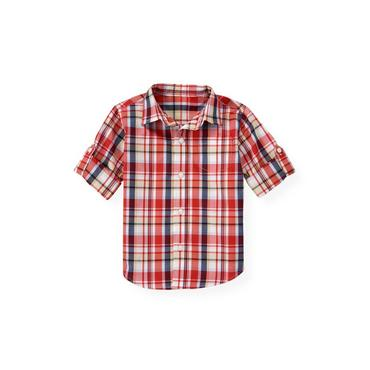 Beachfront Red Plaid Plaid Roll Cuff Shirt at JanieandJack