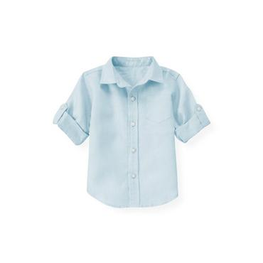Skyway Blue Linen Roll Cuff Shirt at JanieandJack