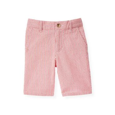 Boys Beachfront Red Stripe Stripe Seersucker Short at JanieandJack