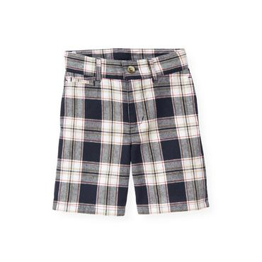 Boys Beachfront Navy Plaid Plaid Linen Blend Short at JanieandJack