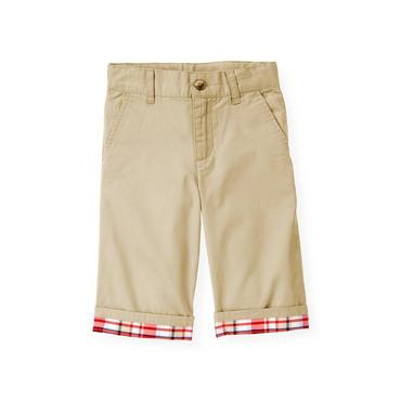 Boys Classic Khaki Plaid Cuff Short at JanieandJack