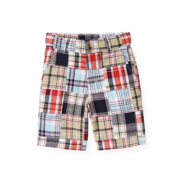 Boys Skyway Blue Patchwork Patchwork Plaid Short at JanieandJack