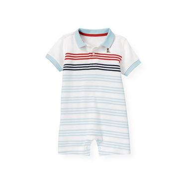 Boys Skyway Blue Stripe Polo Stripe One-Piece at JanieandJack