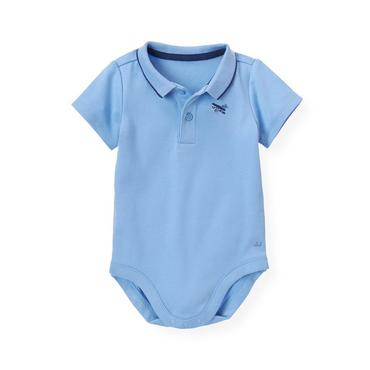 Baby Boy Vista Blue Vintage Plane Polo Bodysuit at JanieandJack