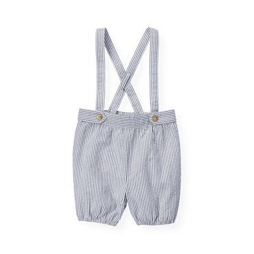 Baby Boy Airplane Blue Stripe Stripe Seersucker Suspender Short at JanieandJack