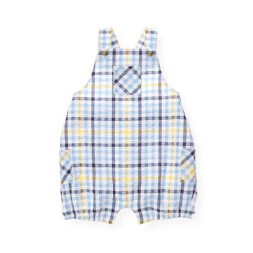 Baby Boy Vista Blue Check Gingham Seersucker Bubble at JanieandJack
